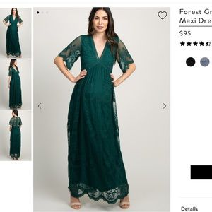 Forest green lace maternity maxi